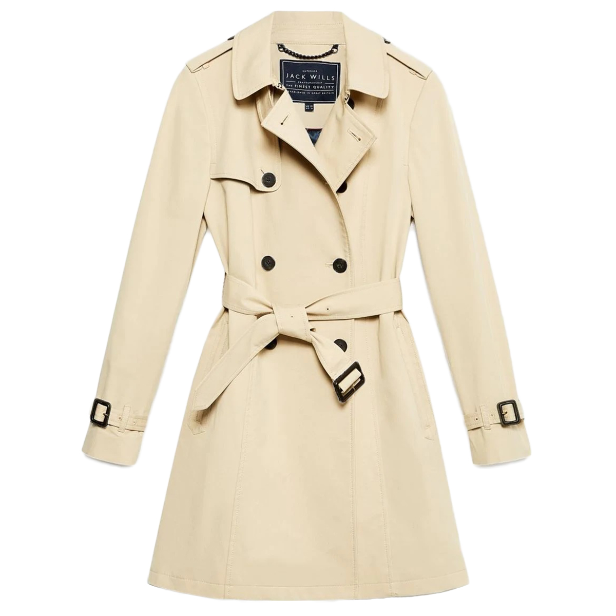 Jack Wills Women's Ambrose Trench Coat - White, 6