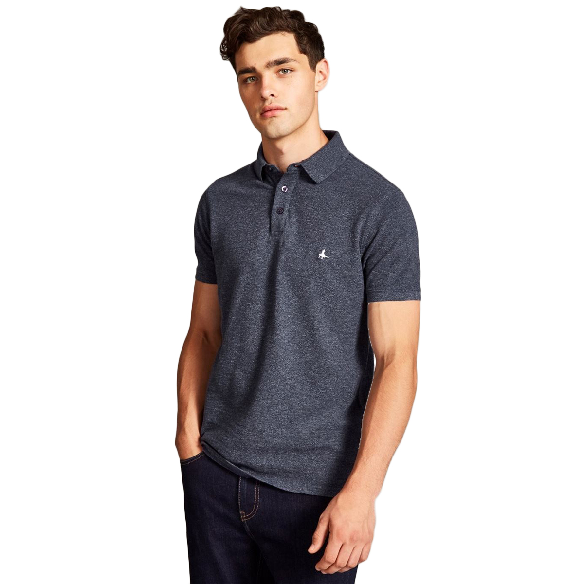 Jack Wills Men's Morley Jaspe Pique Short-Sleeve Polo - Black, XS