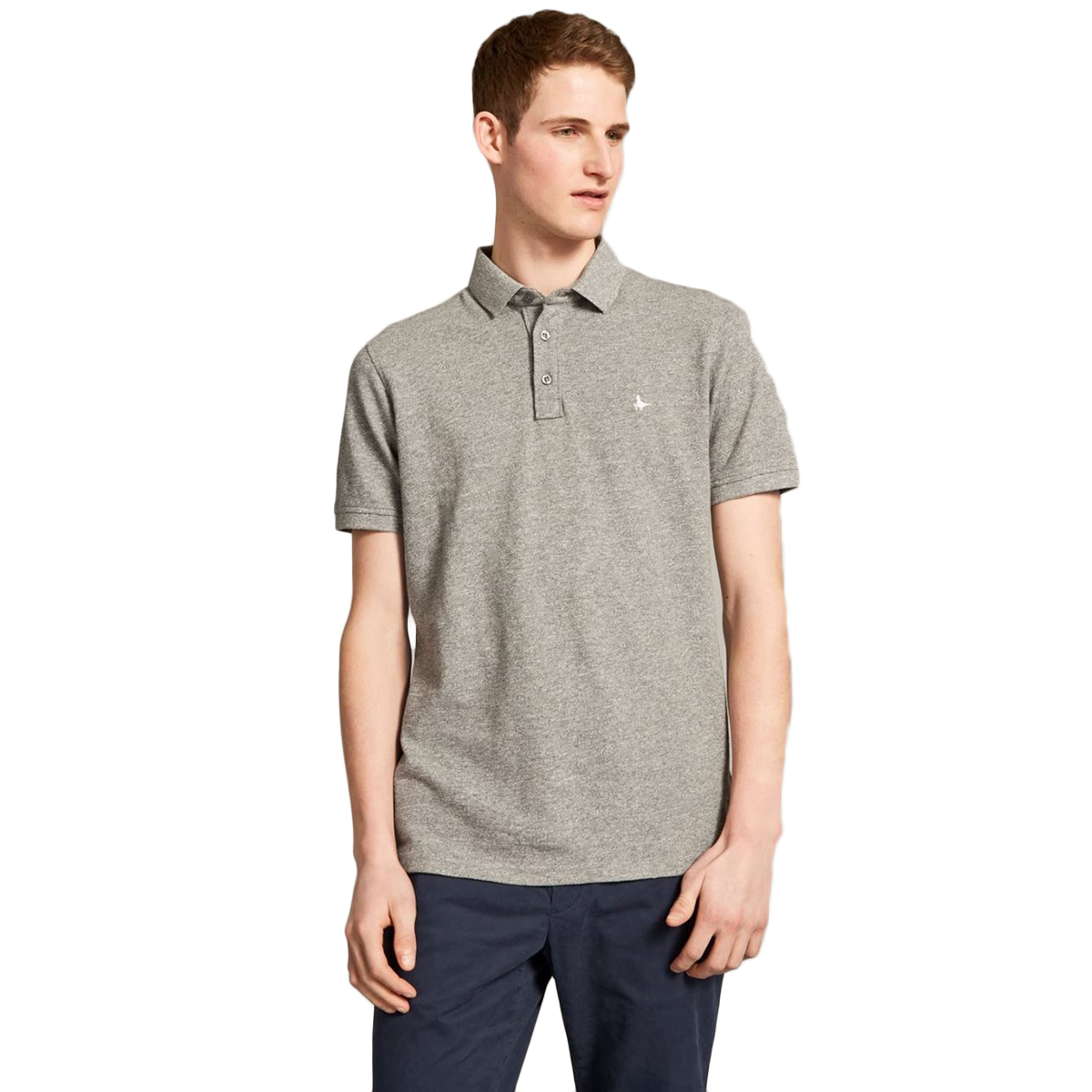 Jack Wills Men's Morley Jaspe Pique Short-Sleeve Polo - Black, M
