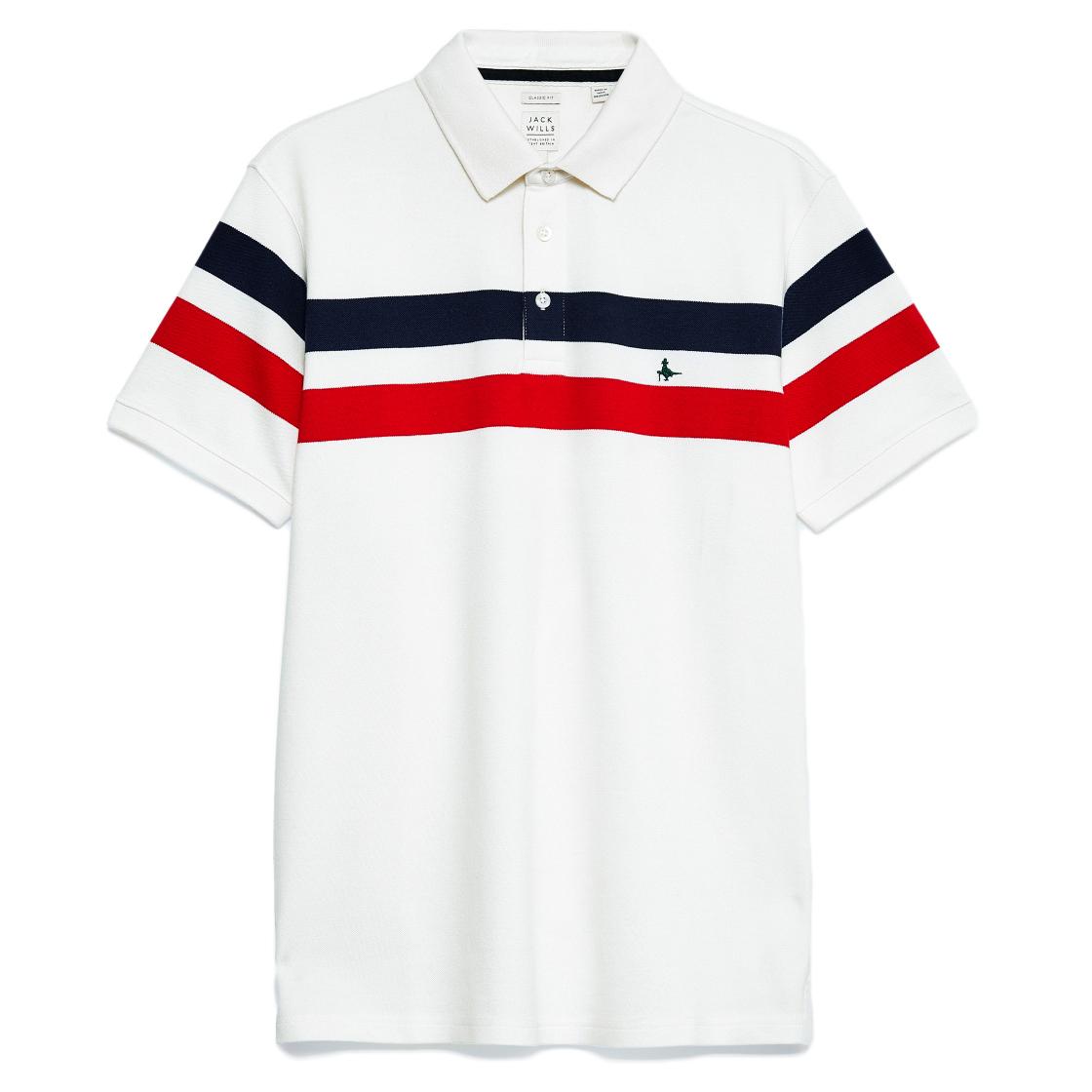 Jack Wills Men's Portrush Sports Polo Shirt - White, L