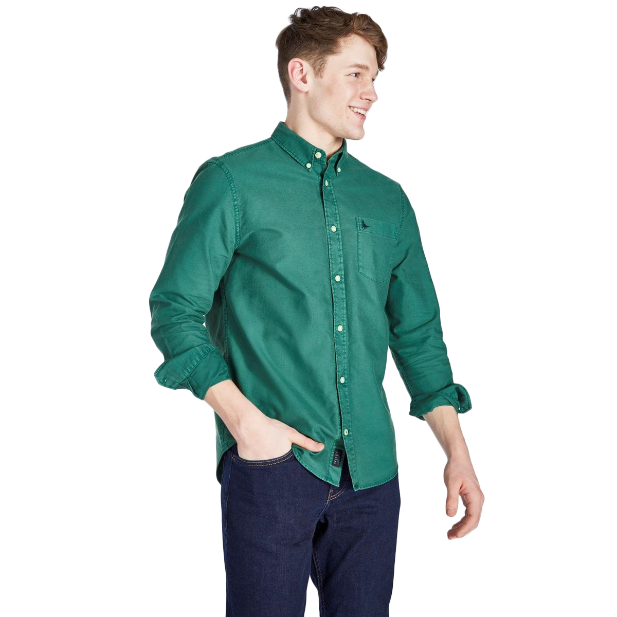 Jack Wills Men's Atley Oxford Garment Dye Shirt - Green, M