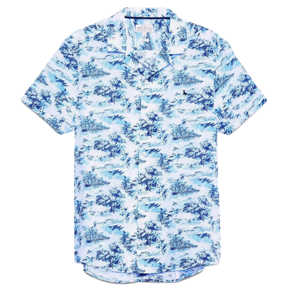 Jack Wills Men's Short-Sleeve Elwick Palm Print Shirt - Blue, L