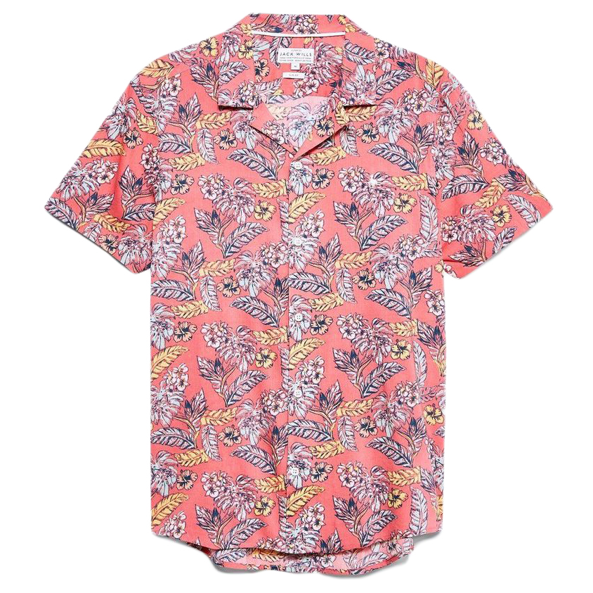 Jack Wills Men's Lawrance Floral Print Shirt - Red, L