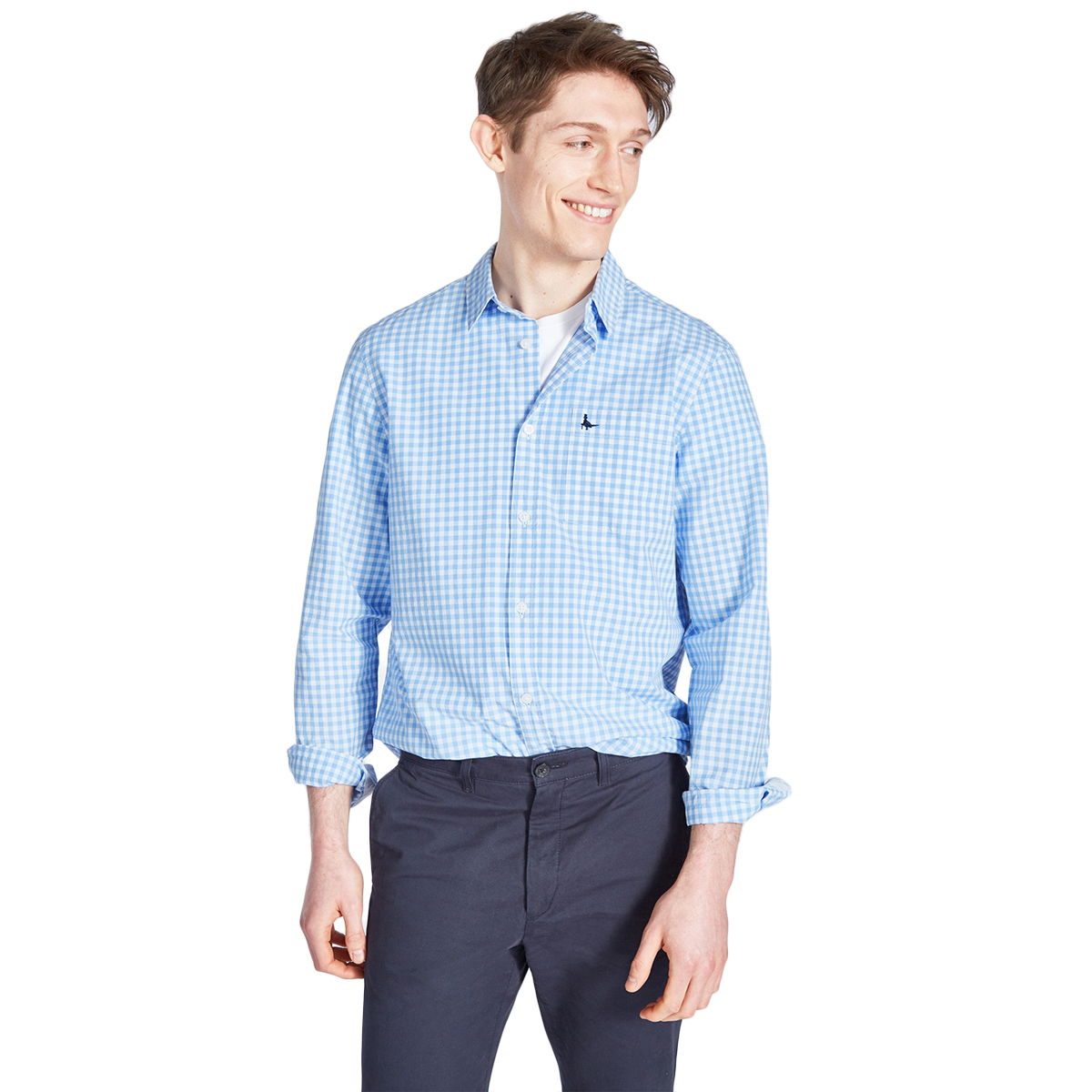 Jack Wills Men's Long-Sleeve Ruxton Poplin Gingham Shirt - Blue, L