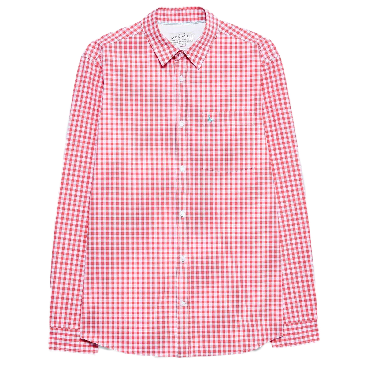Jack Wills Men's Long-Sleeve Ruxton Poplin Gingham Shirt - Orange, XS