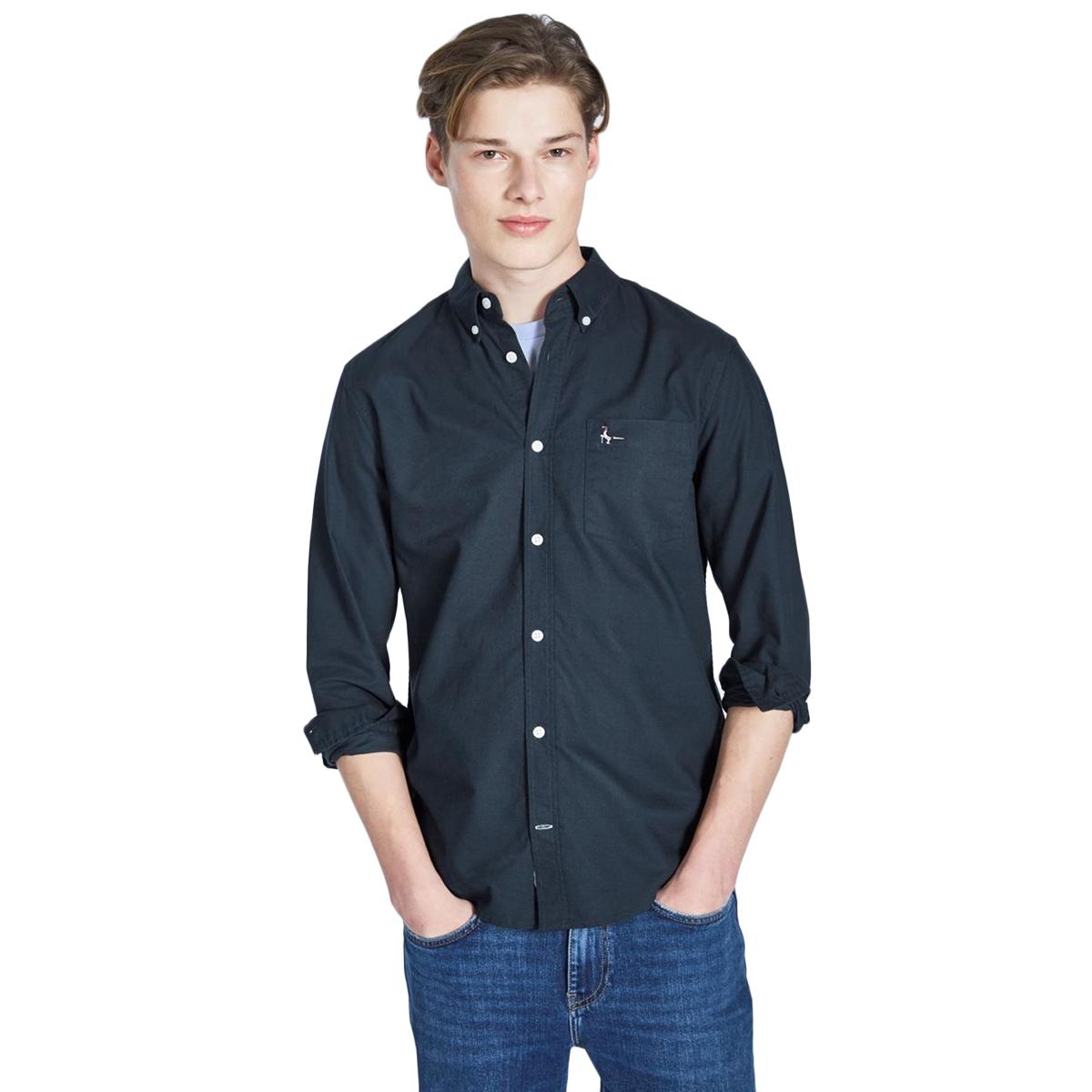 Jack Wills Men's Wadsworth Plain Oxford Shirt - Black, L