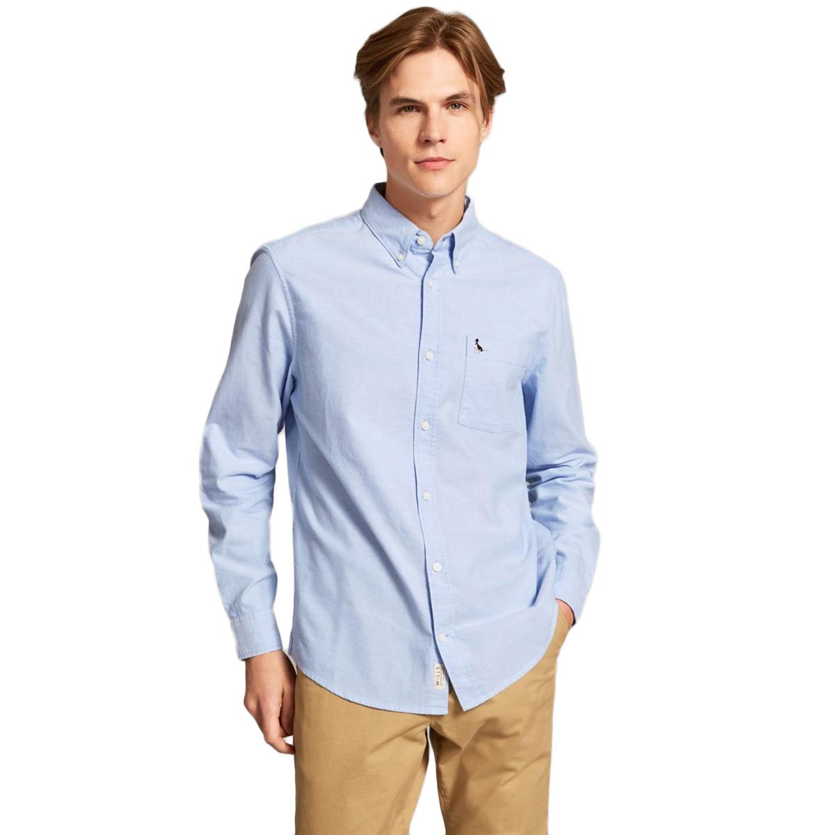 Jack Wills Men's Wadsworth Plain Oxford Shirt - Blue, L