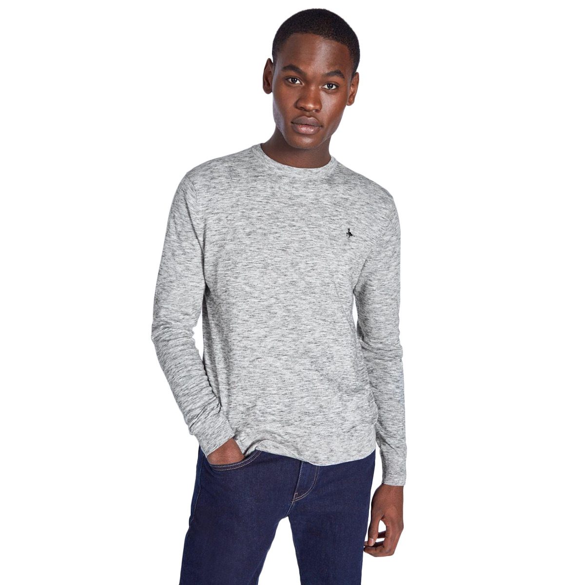 Jack Wills Men's Buscot Space Dye Sweater - Black, L