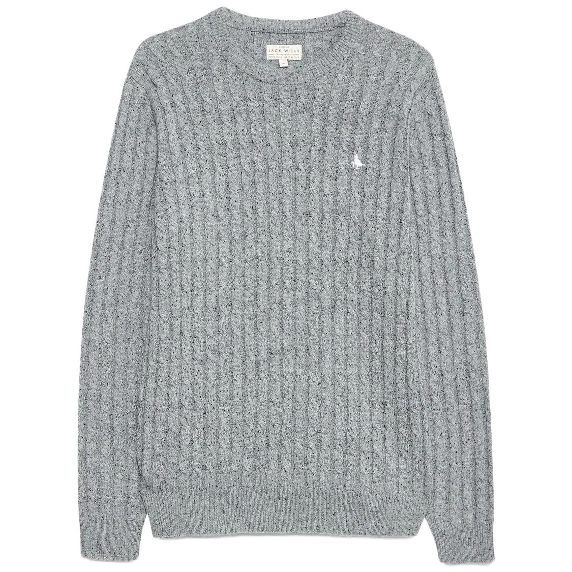 Jack Wills Men's Marlow Cable Knit Crewneck Sweater - Black, L