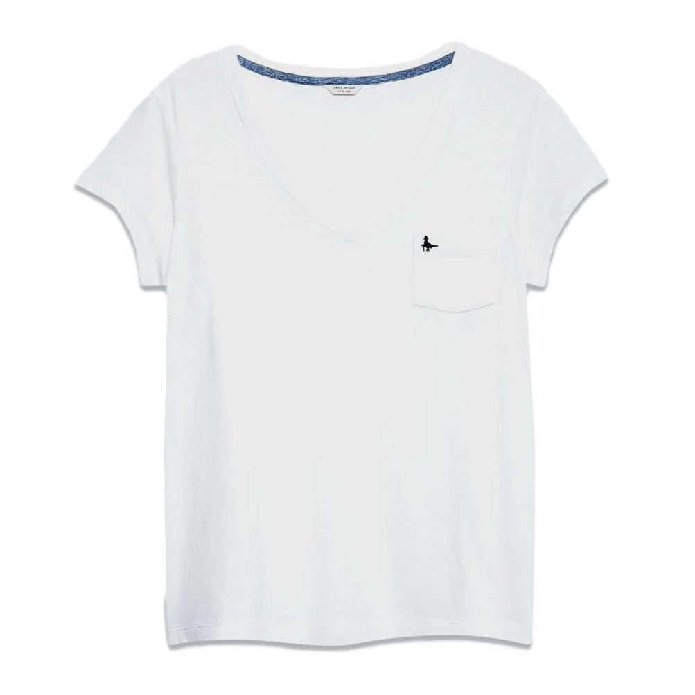 Jack Wills Women's Short-Sleeve Bicester V-Neck Tee - White, 12