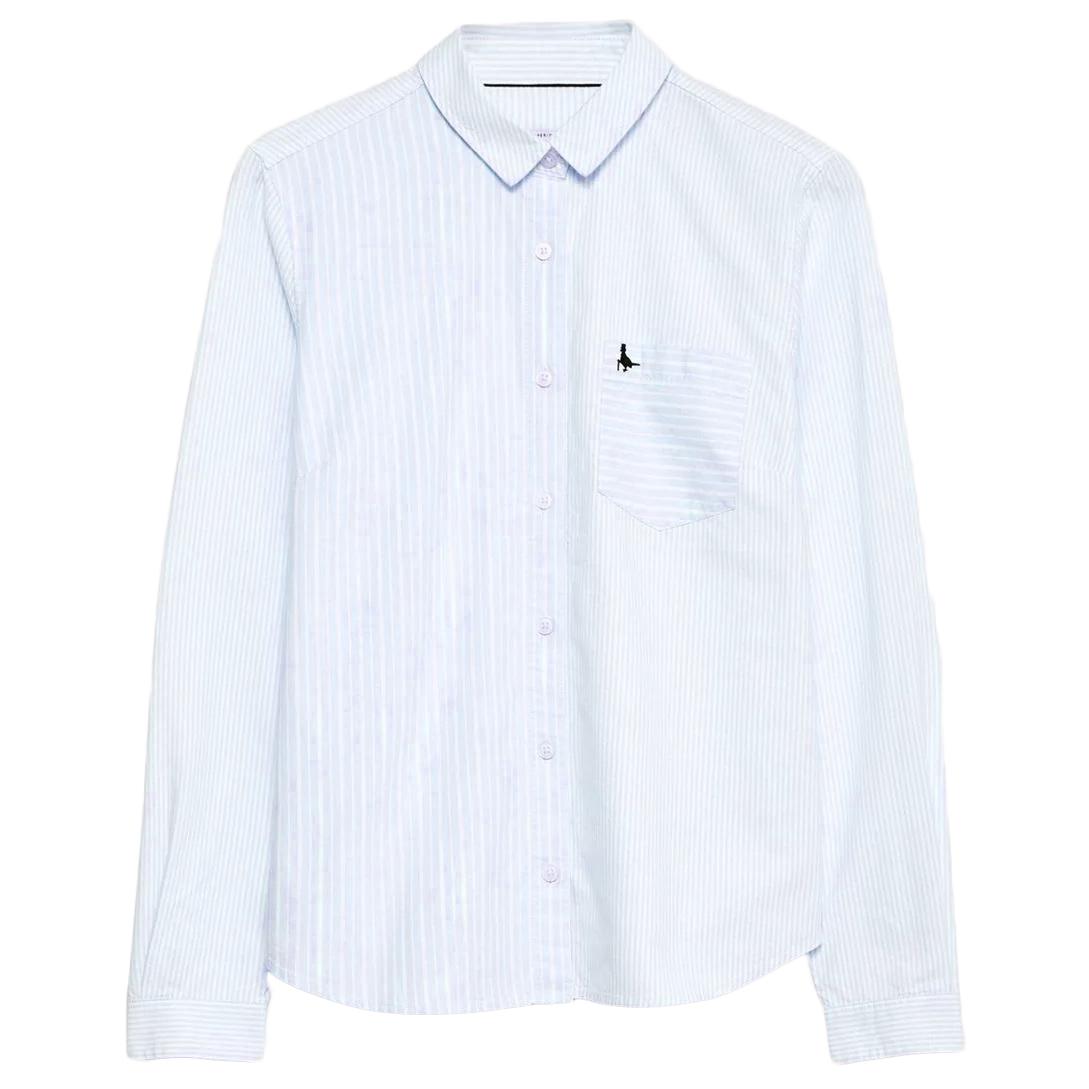 Jack Wills Women's Homefore Stripe Classic Long-Sleeve Shirt - Blue, 10