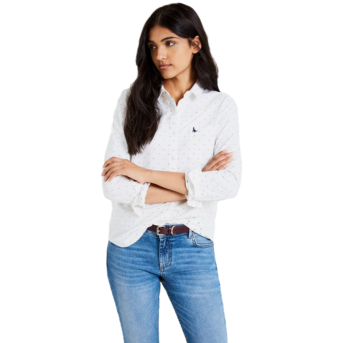 Jack Wills Women's Long-Sleeve Homefore Oxford Dobby Button Down Shirt - White, 10