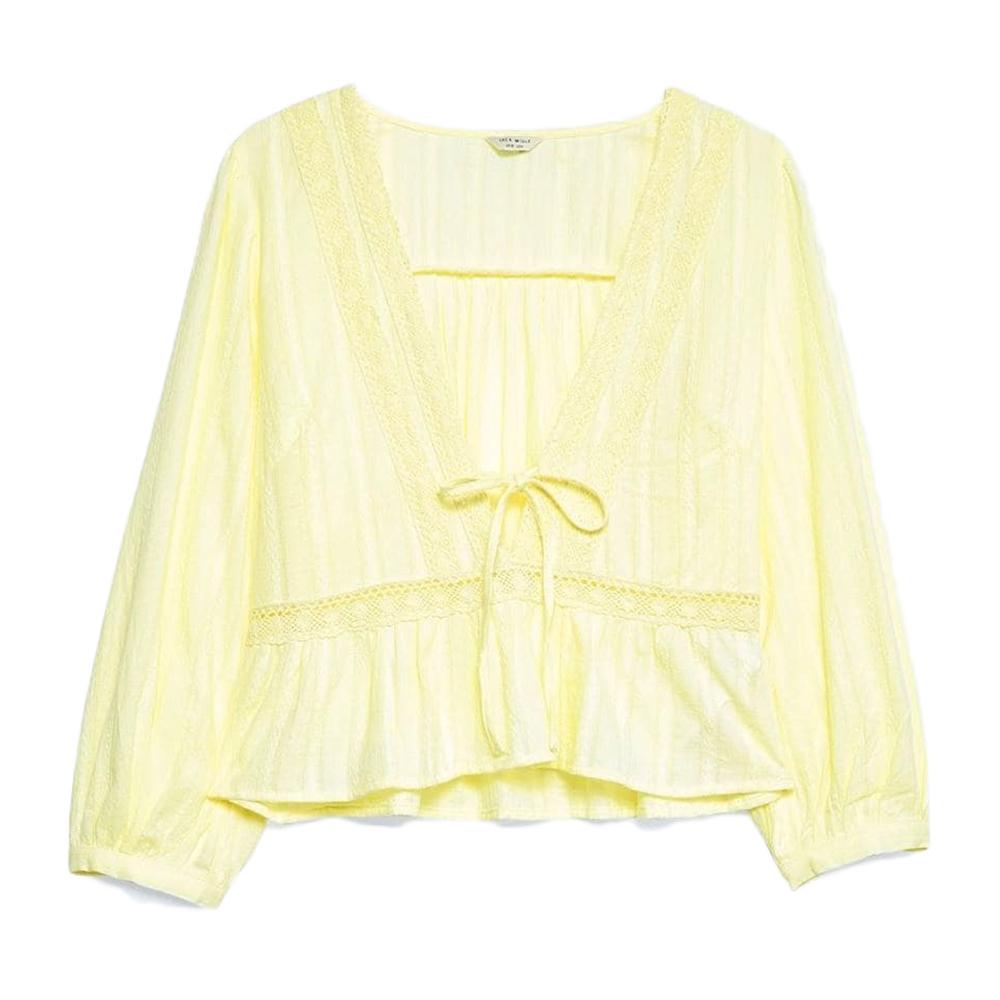 Jack Wills Women's Honeywood Lace Trim Festival Top - Yellow, 10