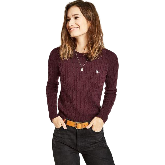 Jack Wills Women's Heritage Cable Crewneck Sweater - Purple, 12