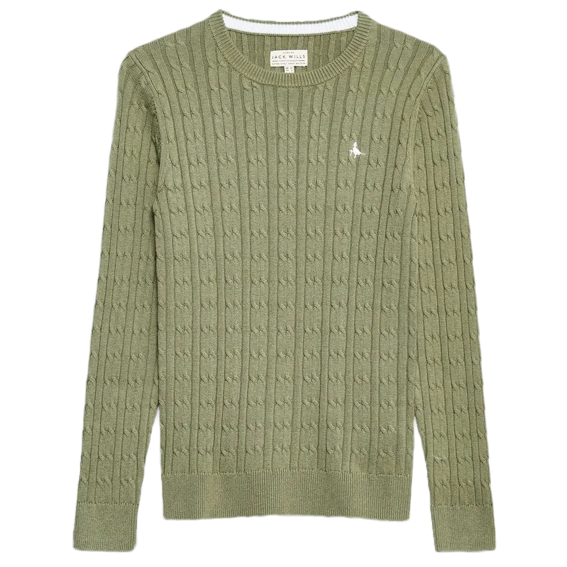 Jack Wills Tinsbury Classic Cable Crewneck Sweater - Green, 10