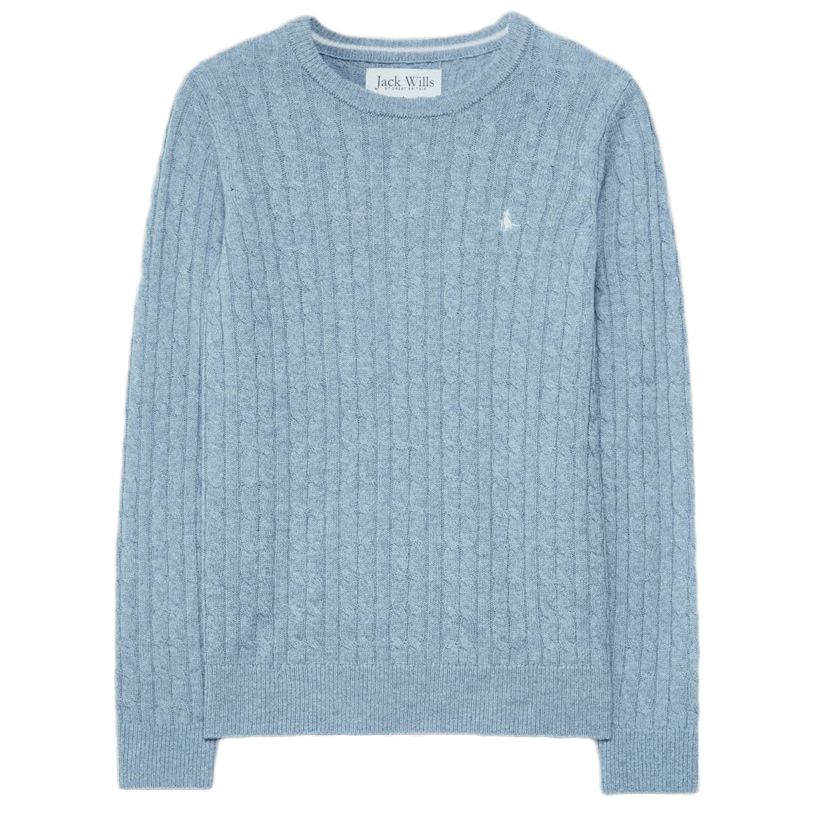 Jack Wills Tinsbury Classic Cable Crewneck Sweater - Blue, 6