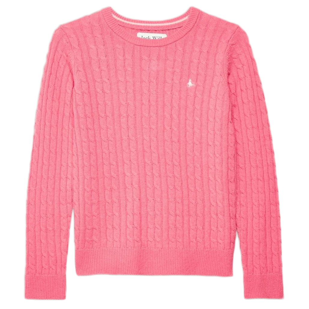 Jack Wills Tinsbury Classic Cable Crewneck Sweater - Red, 8