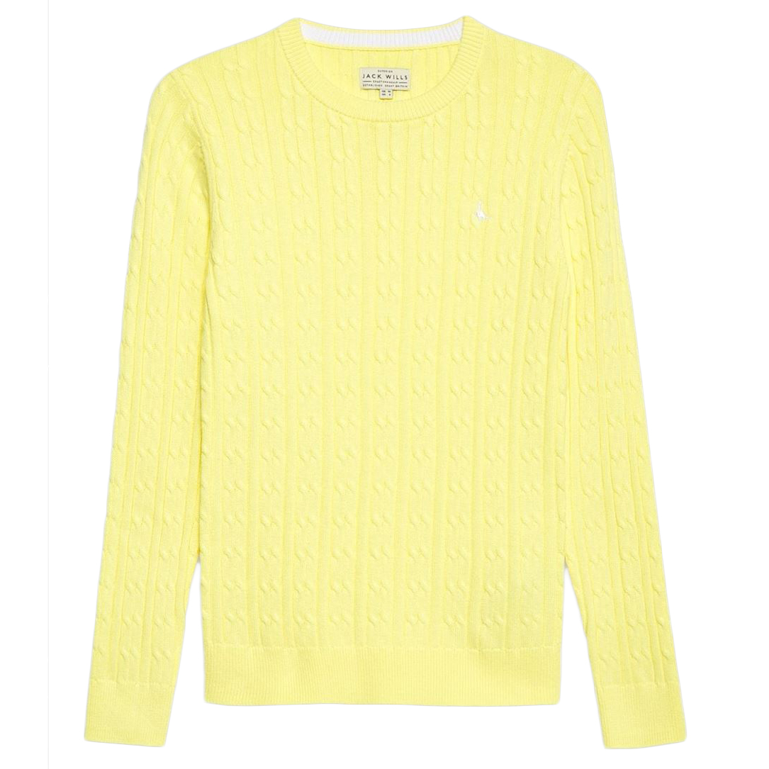 Jack Wills Tinsbury Classic Cable Crewneck Sweater - Yellow, 2