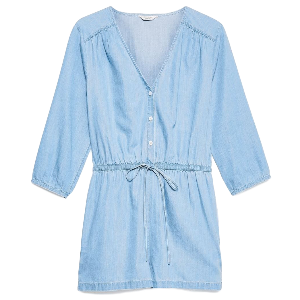 Jack Wills Women's Raynham Button Up Playsuit - Blue, 6