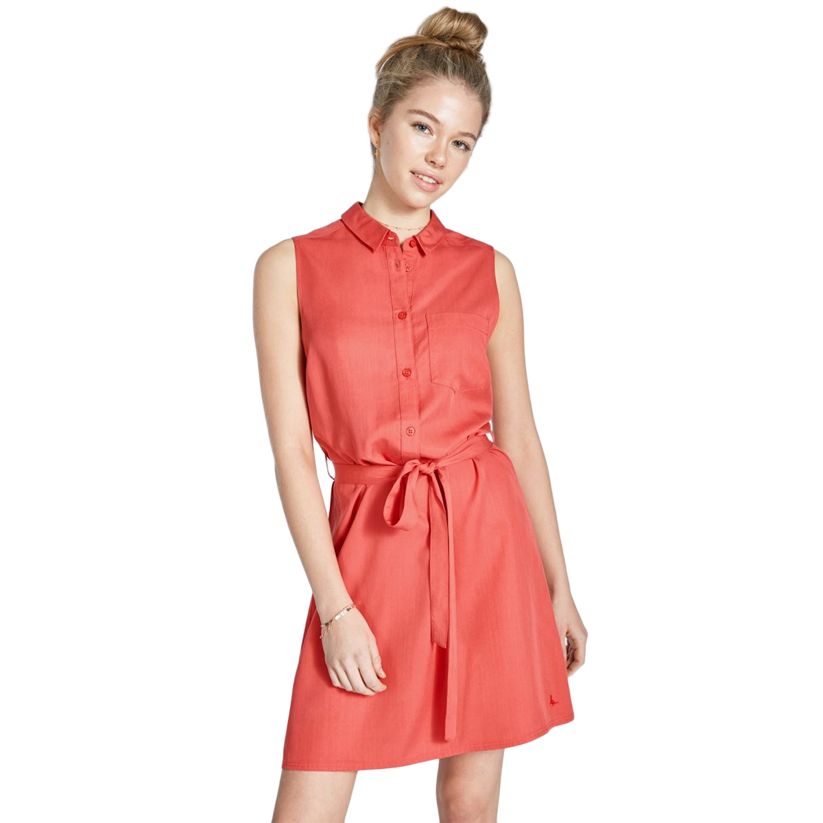 Jack Wills Women's Ruckhall Sleeveless Shirt Dress - Red, 2