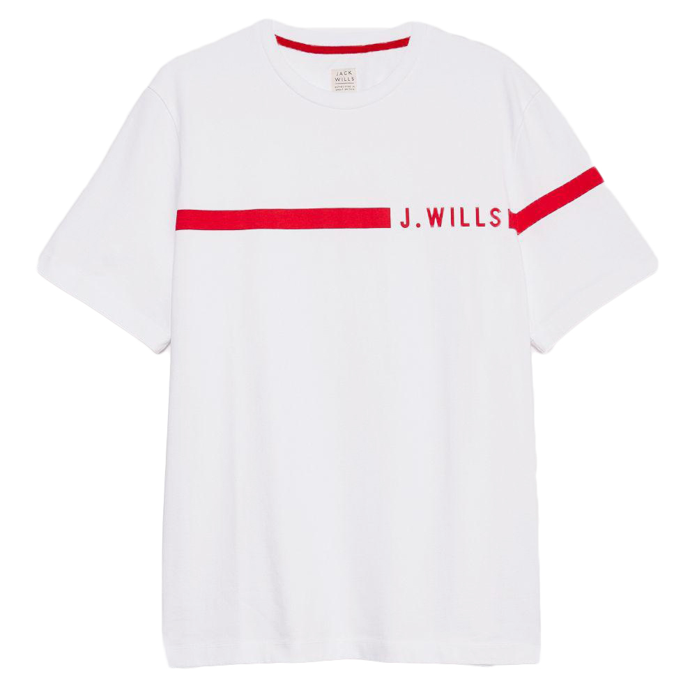 Jack Wills Men's Budden Stripe Logo Short-Sleeve Tee - White, XL