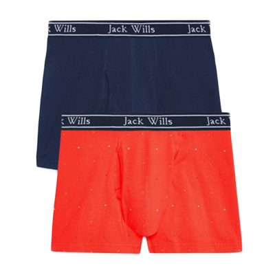 Jack Wills Men's Chetwood Triangle Print Boxer Shorts Set, 2-Pack - Black, XS