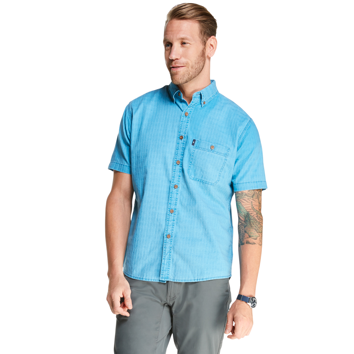 G.h. Bass & Co. Men's Salt Cove Pigment Dobby Short-Sleeve Button-Down Shirt - Blue, XXL