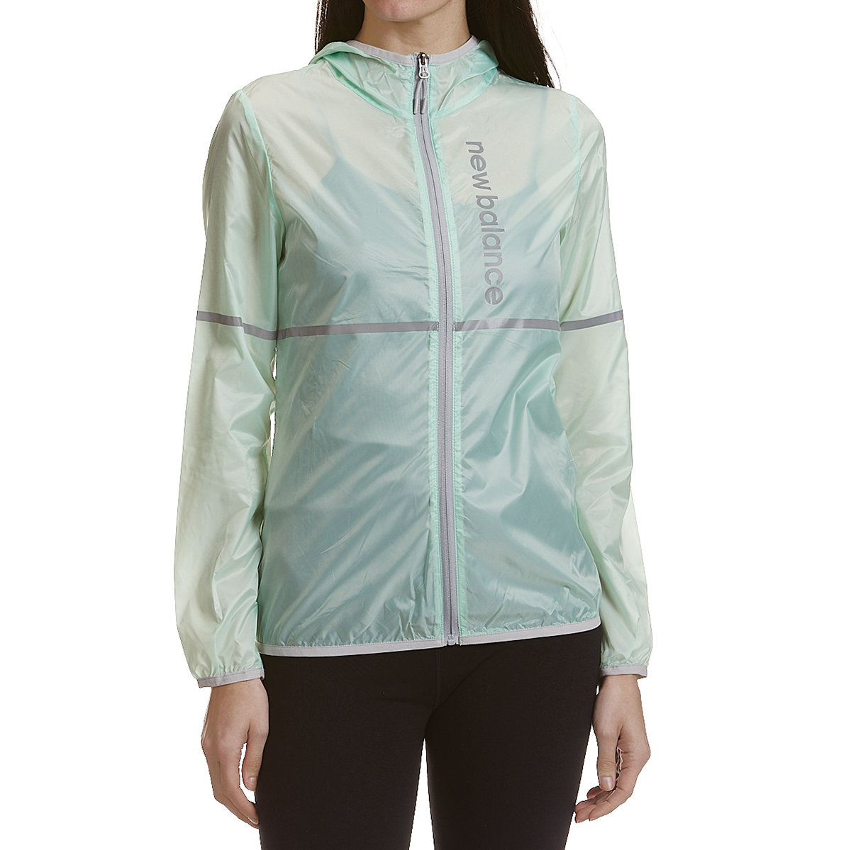 New Balance Women's Translucent Ribstop Hooded Jacket With Reflective Trim - Blue, S