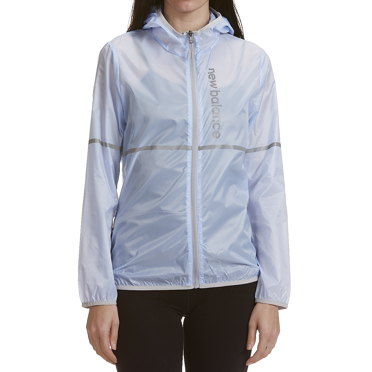 New Balance Women's Translucent Ribstop Hooded Jacket With Reflective Trim - Blue, M