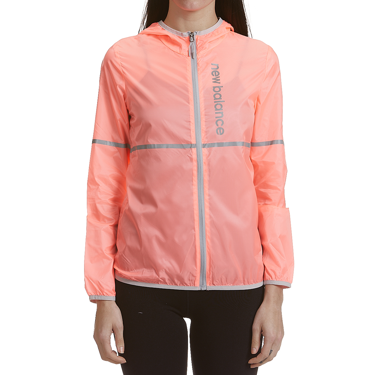New Balance Women's Translucent Ribstop Hooded Jacket With Reflective Trim - Red, M