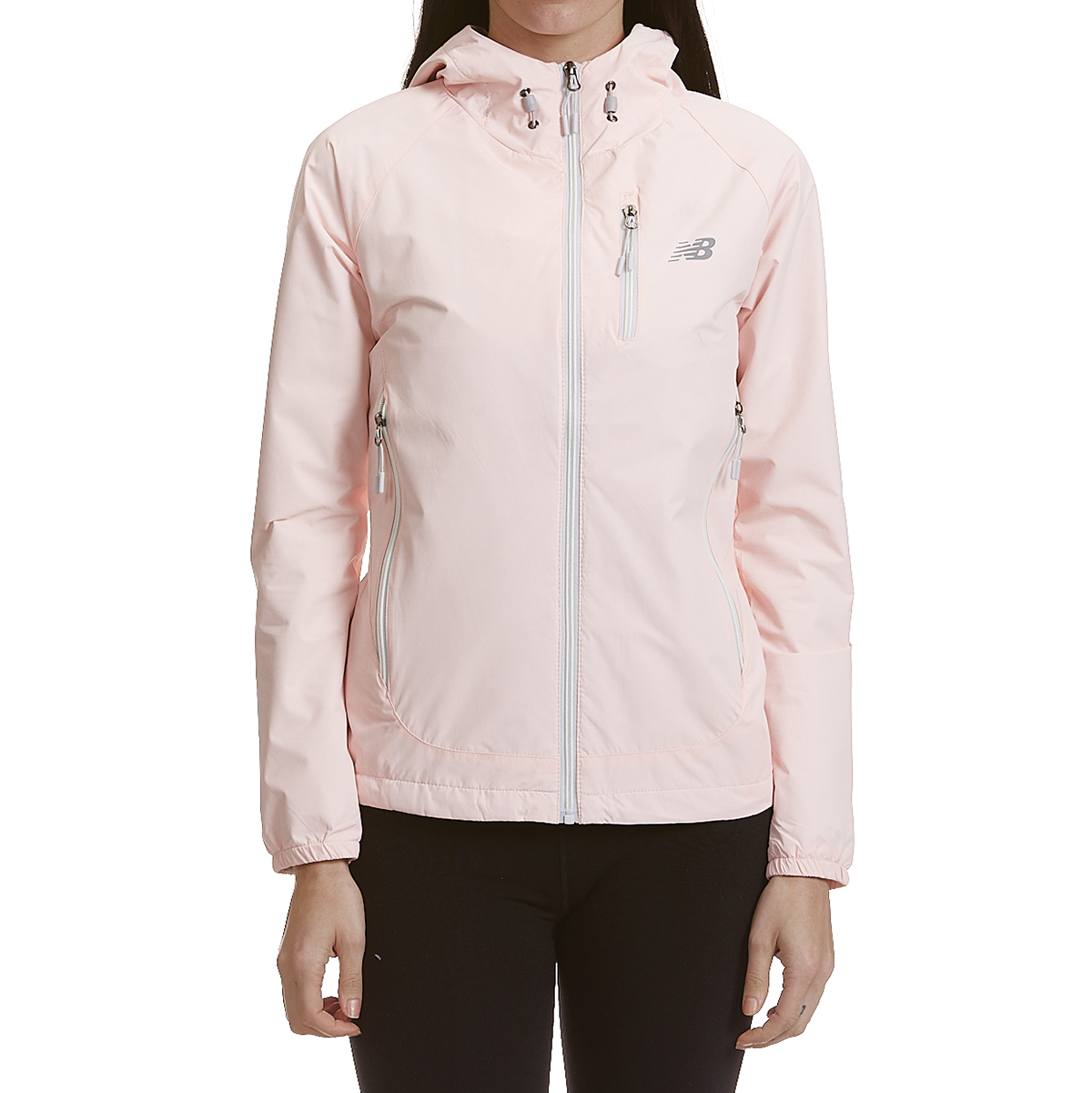 New Balance Women's Solid Dobby Hooded Jacket With Zipped Pockets - White, S