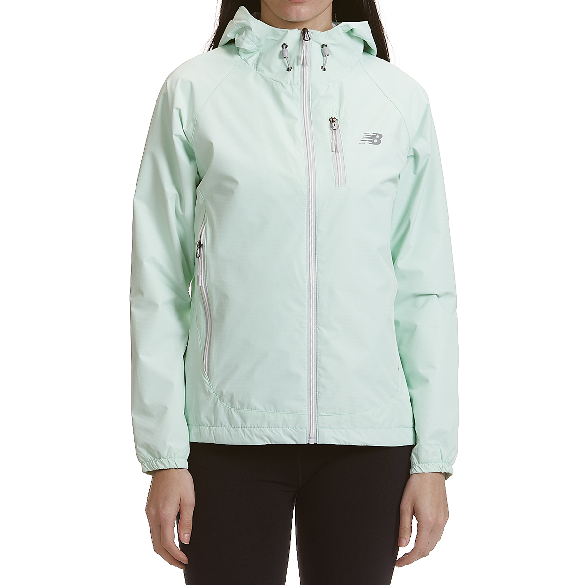 New Balance Women's Solid Dobby Hooded Jacket With Zipped Pockets - Blue, M