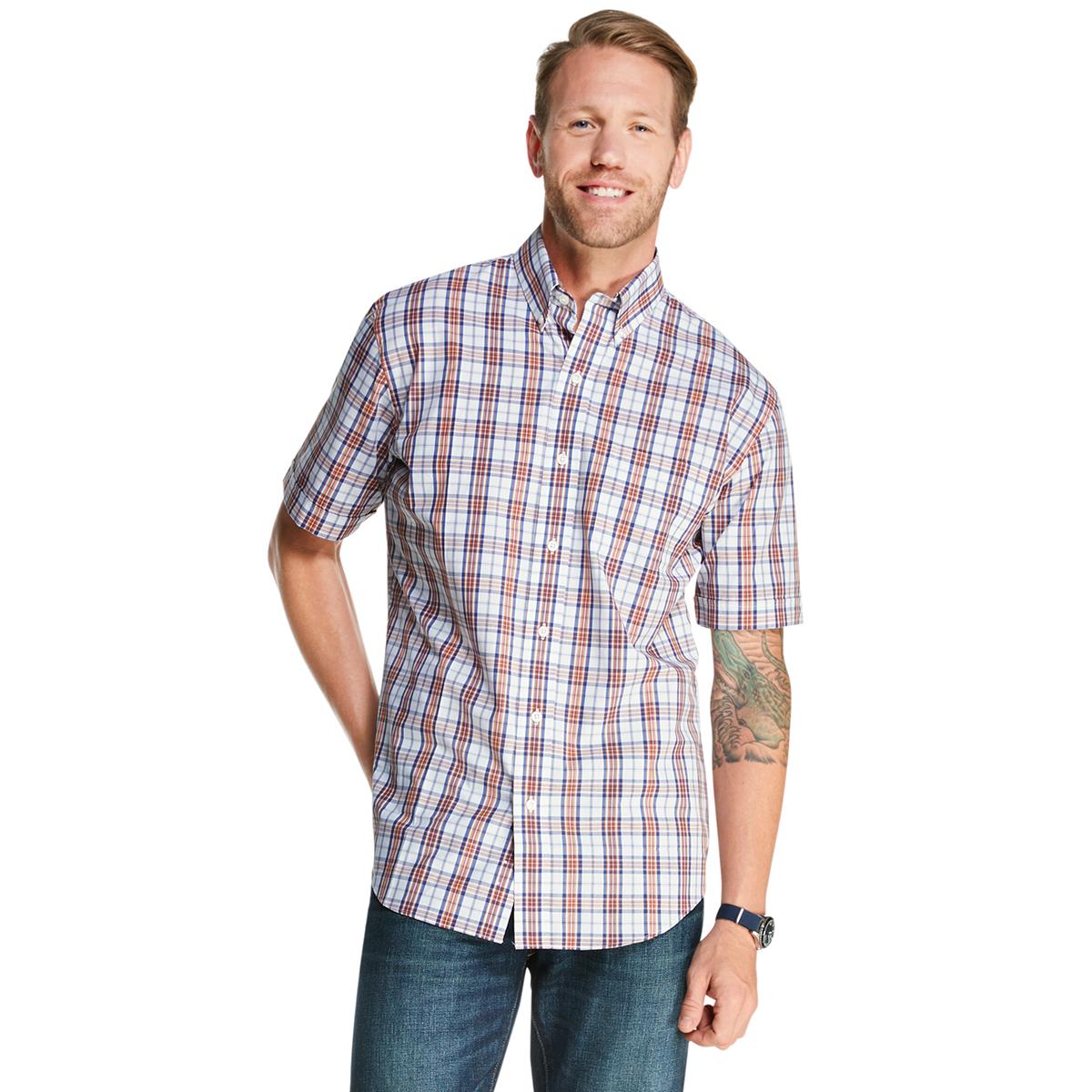 Arrow Men's Hamilton Poplin Button-Down Shirt - Orange, M