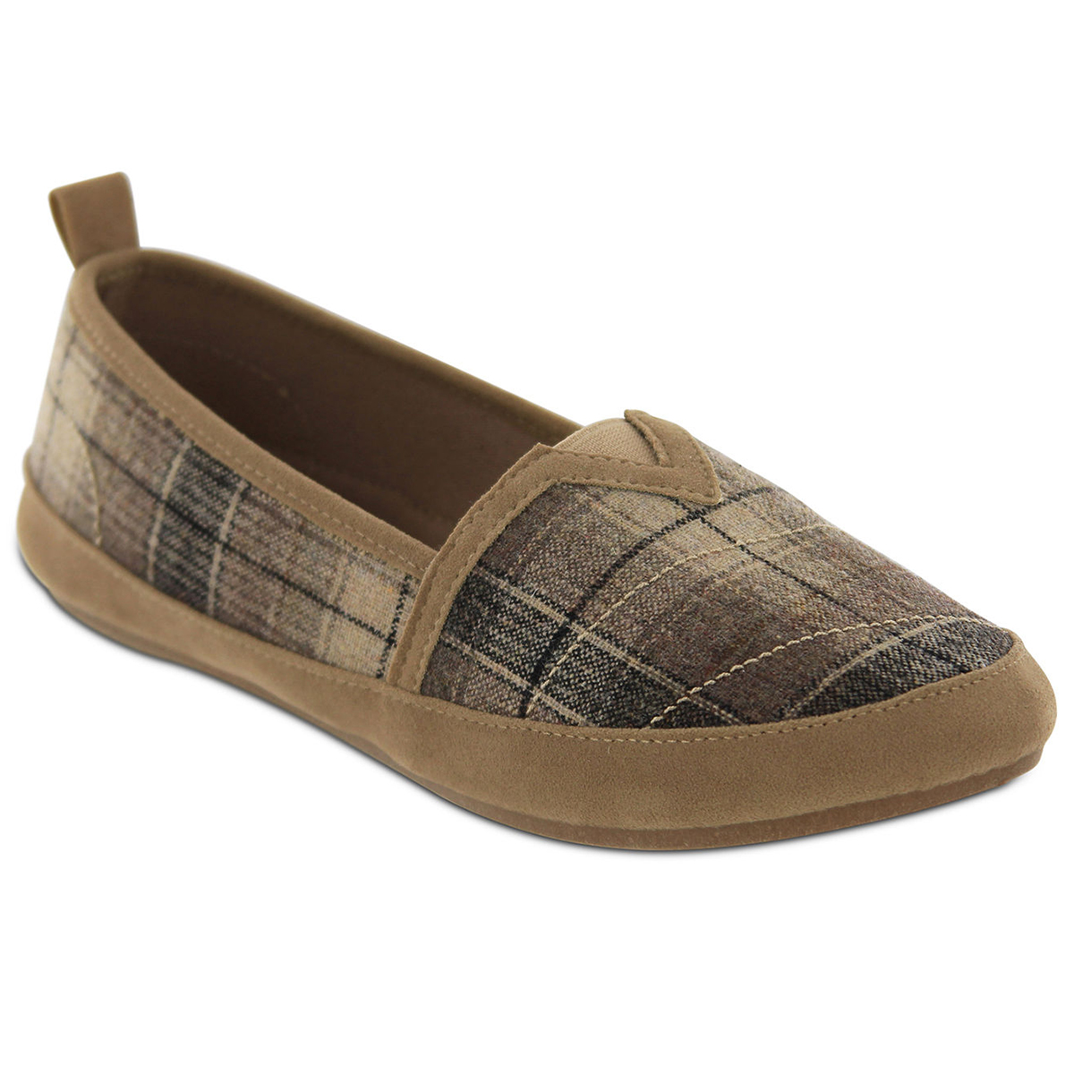 MIA Women's Adri Plaid Slip-On Casual Shoes - Brown, 7.5