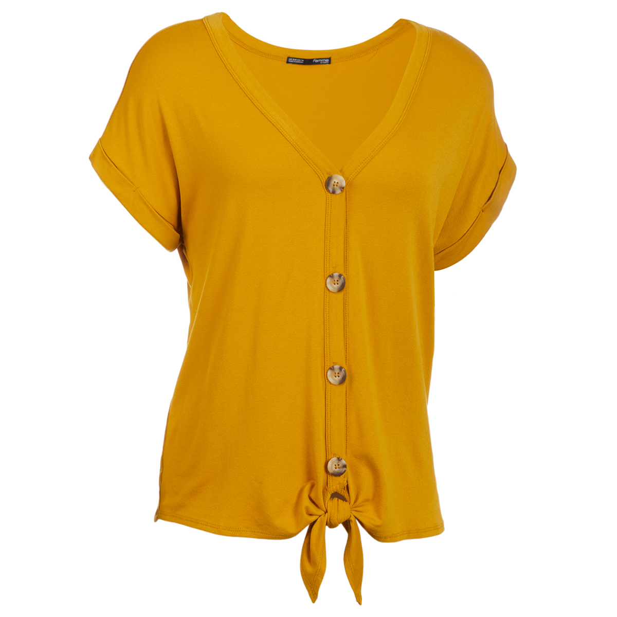 Femme Women's Short-Sleeve Button Down Knot Front Knit Tee - Yellow, L