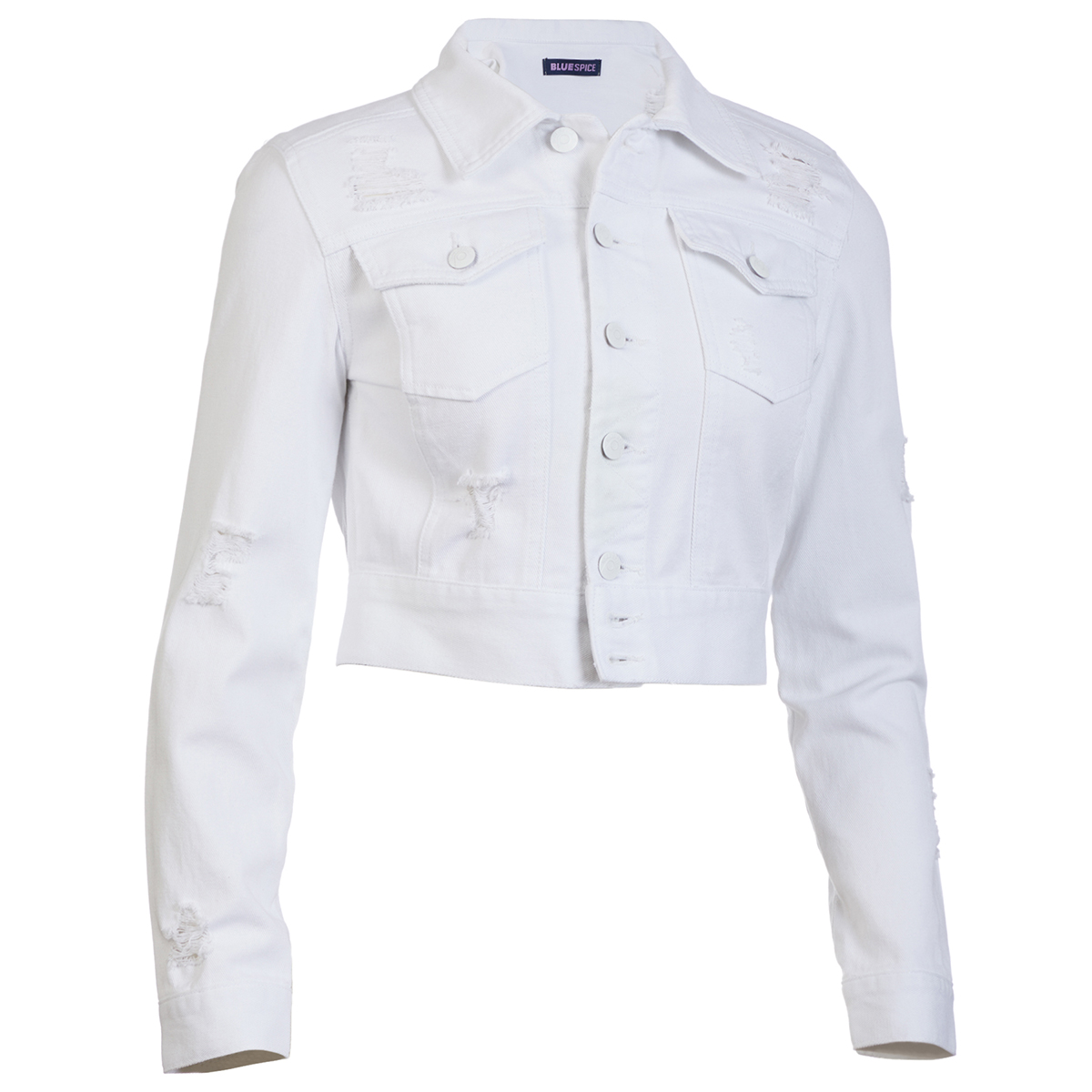 Blue Spice Juniors' Twill Crop Destructed Jacket