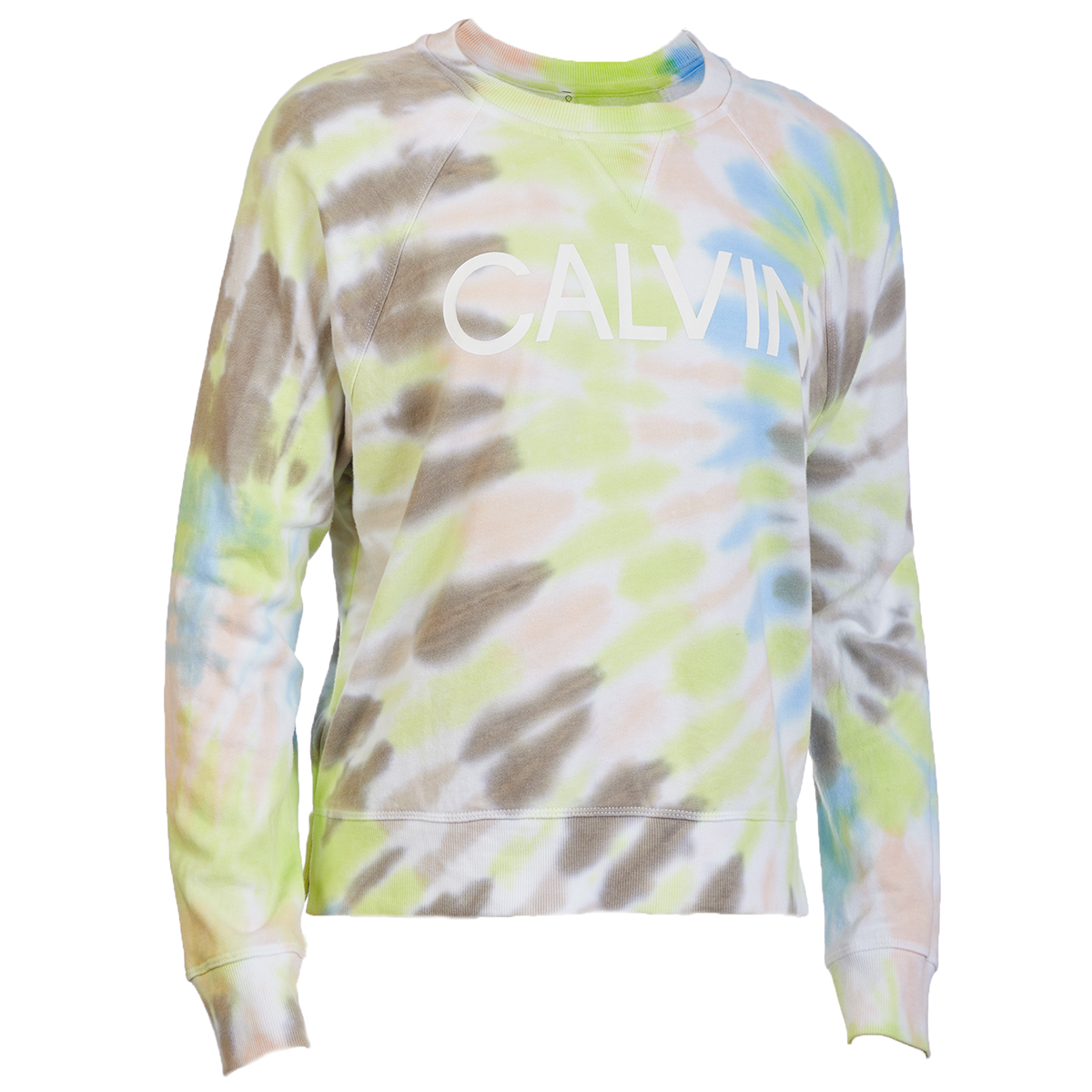Calvin Klein Performance Women's Long-Sleeve Tie Dye Logo Pullover - White, XL