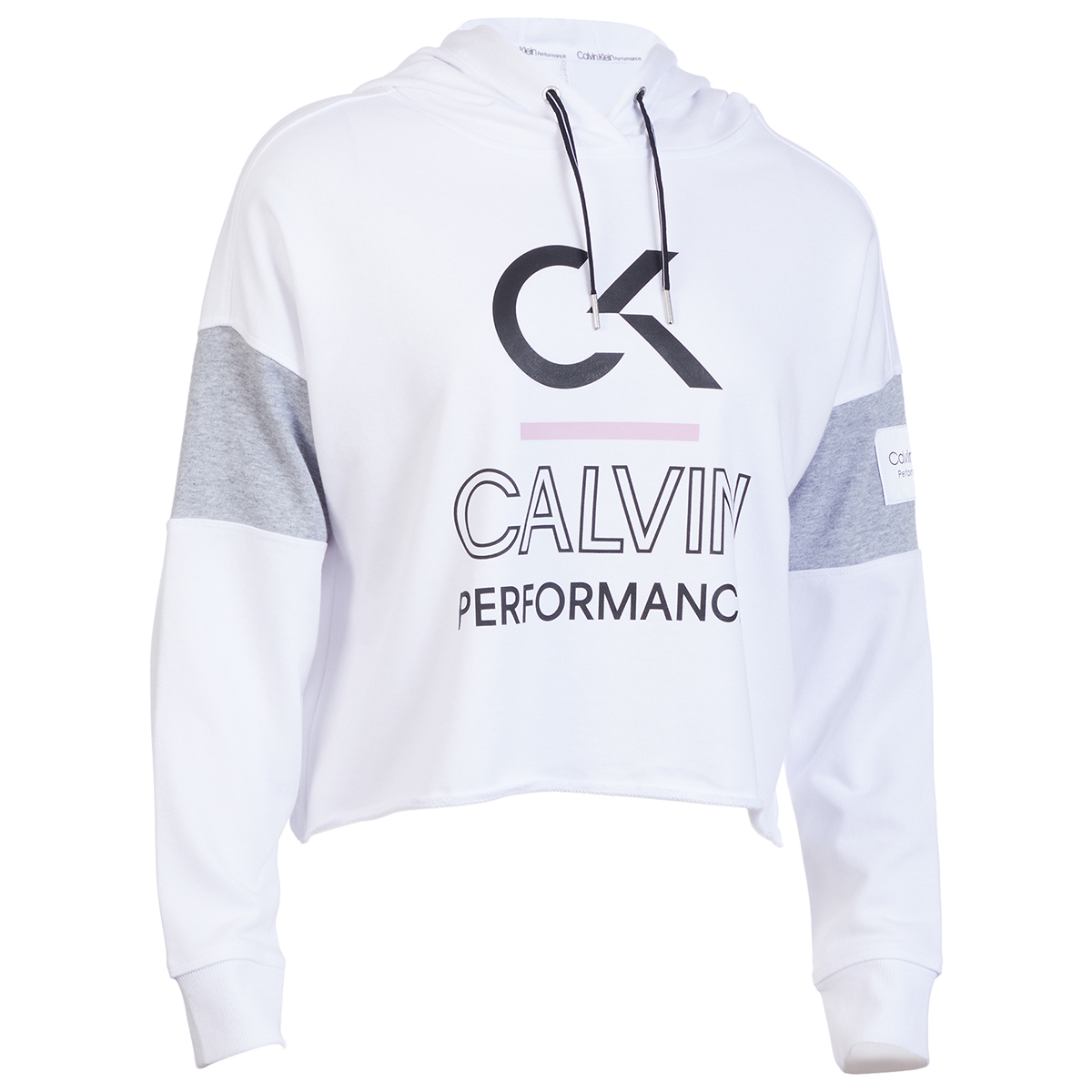 Calvin Klein Performance Women's Color Block Hoodie - White, XL