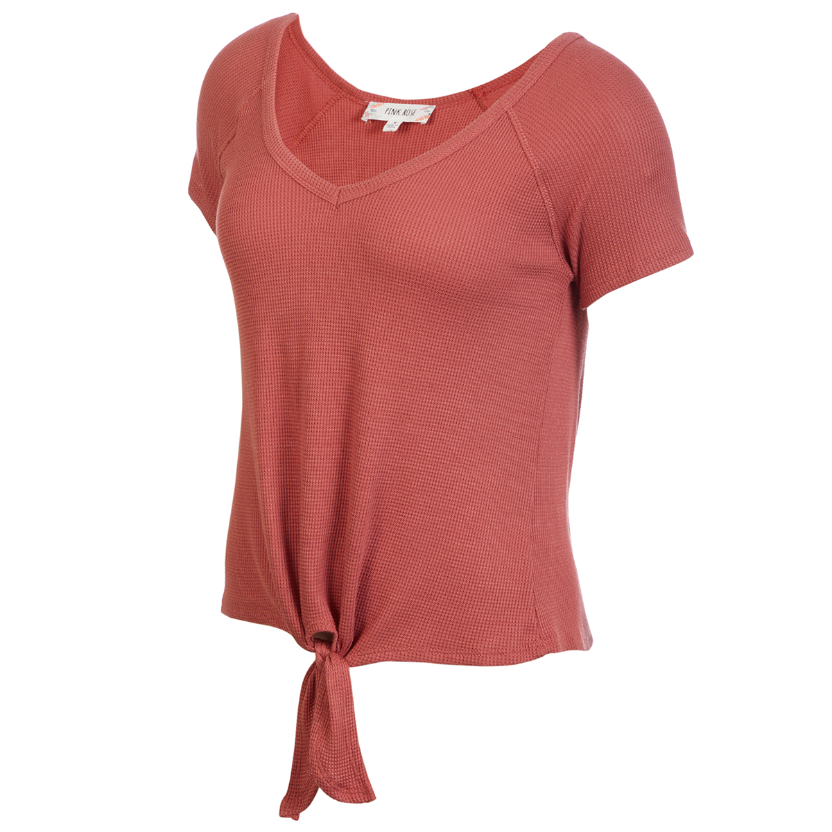 Pink Rose Juniors' V-Neck Tie Front Tee - Red, S