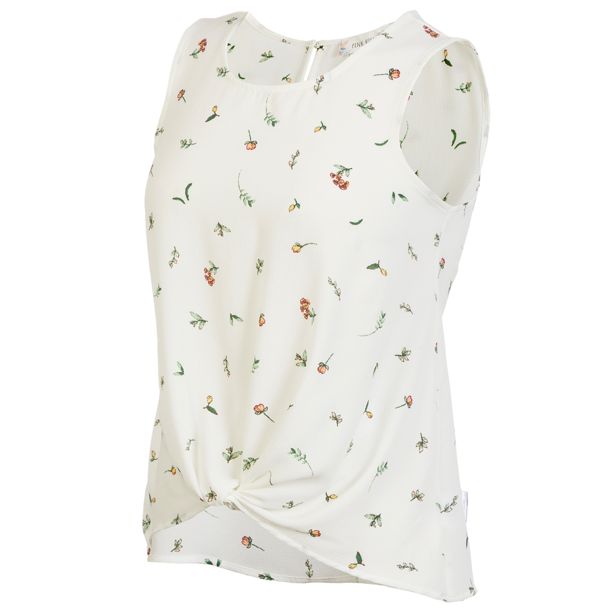 Pink Rose Juniors' Button Front Sleeveless Top - White, S