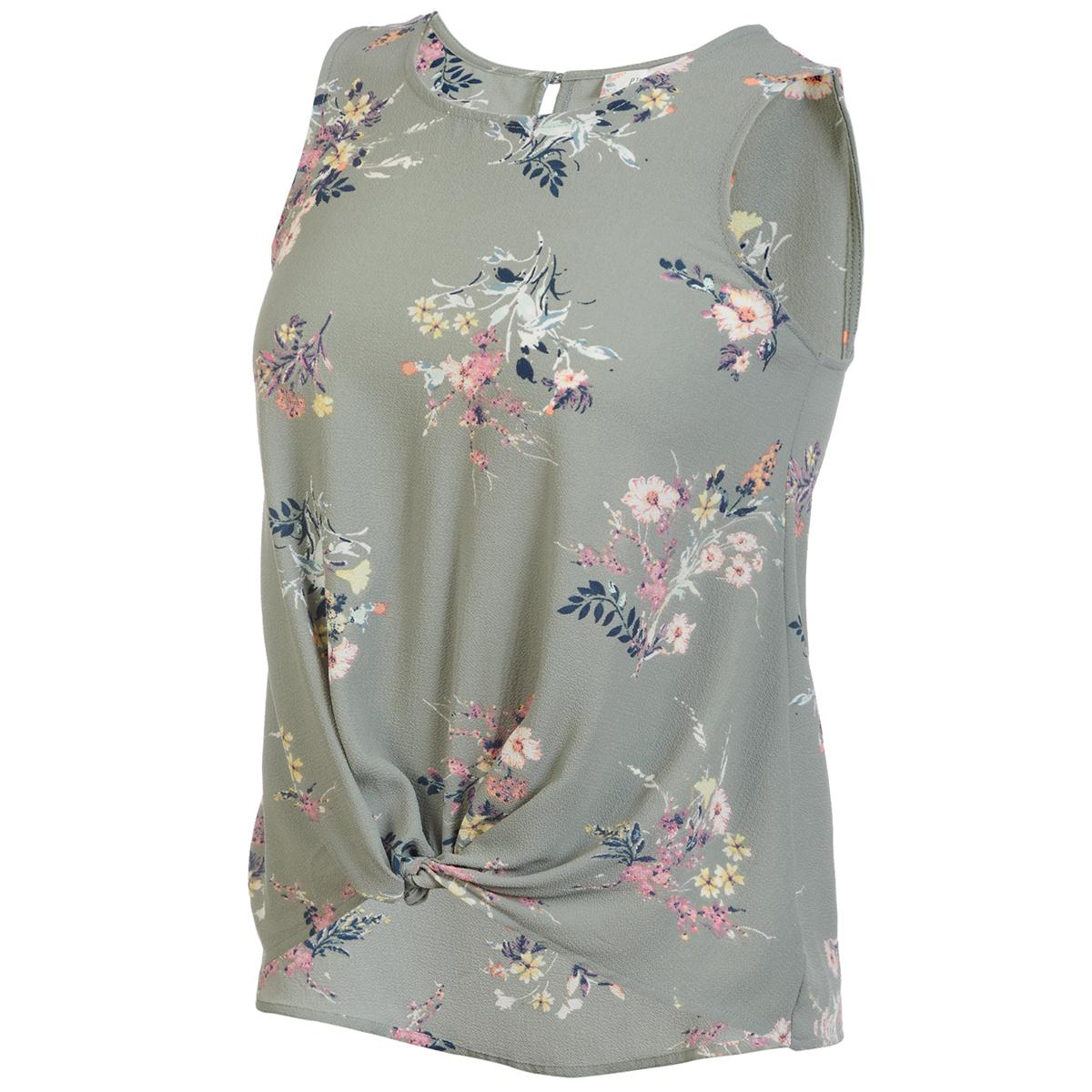 Pink Rose Juniors' Button Front Sleeveless Top - Green, S