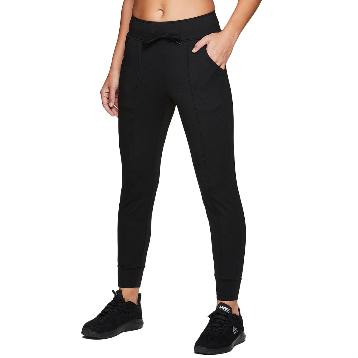 RBX Women's Cuffed Fleece Jogger Sweatpants - Black, L