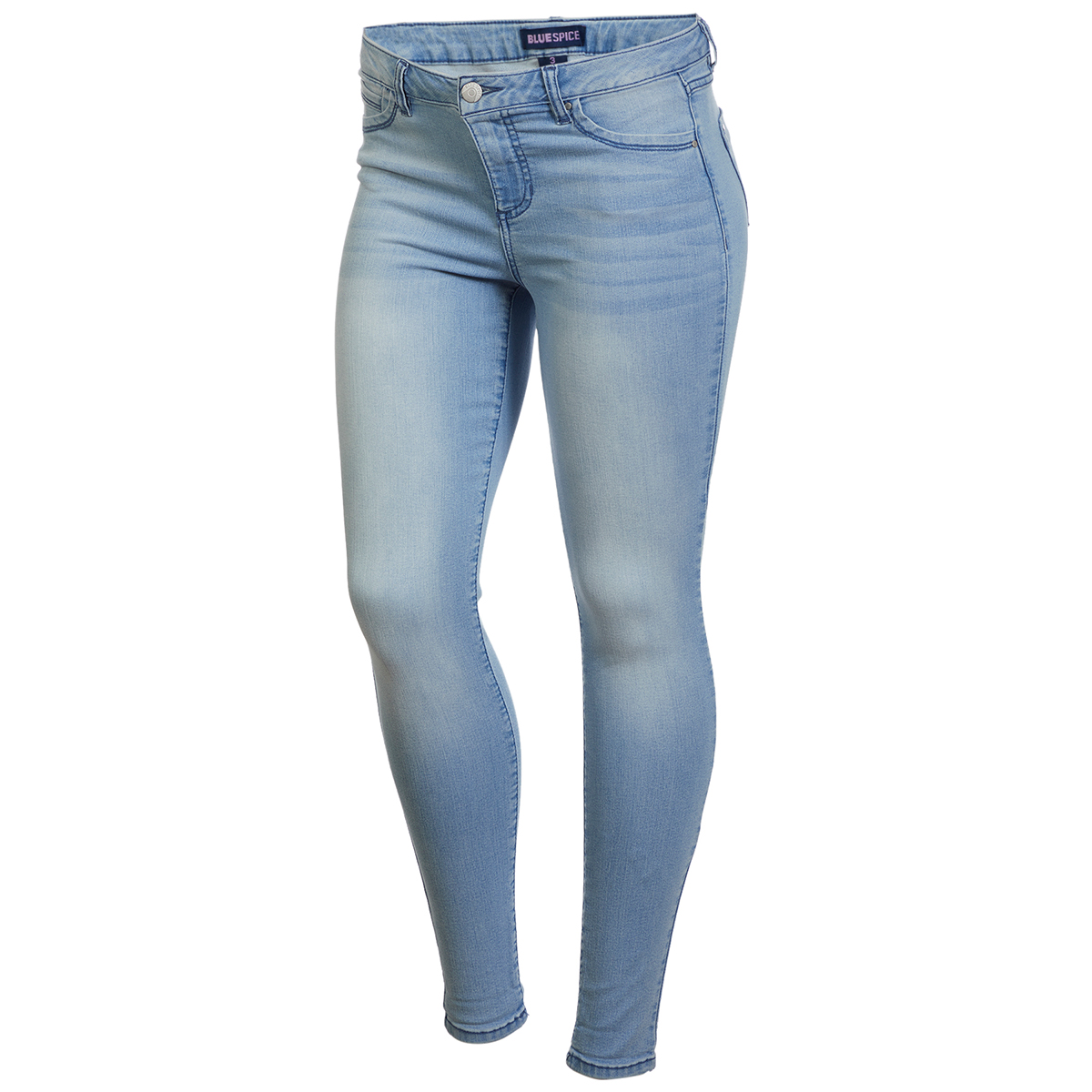 Blue Spice Juniors' High Waist Roll Cuff Jeans