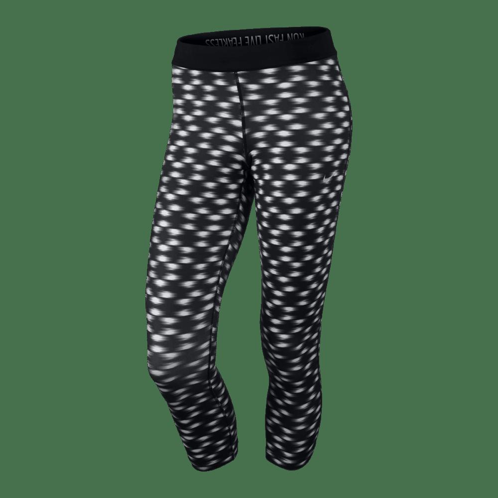 NIKE Womens' Printed Relay Crop Tights - BLACK