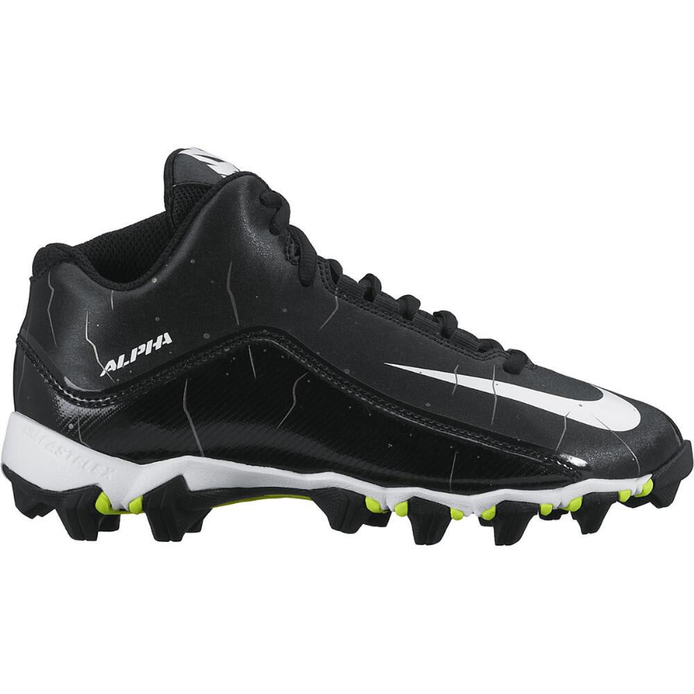 NIKE Kids' Alpha Shark 3/4 BG Football Cleats, Wide - BLACK