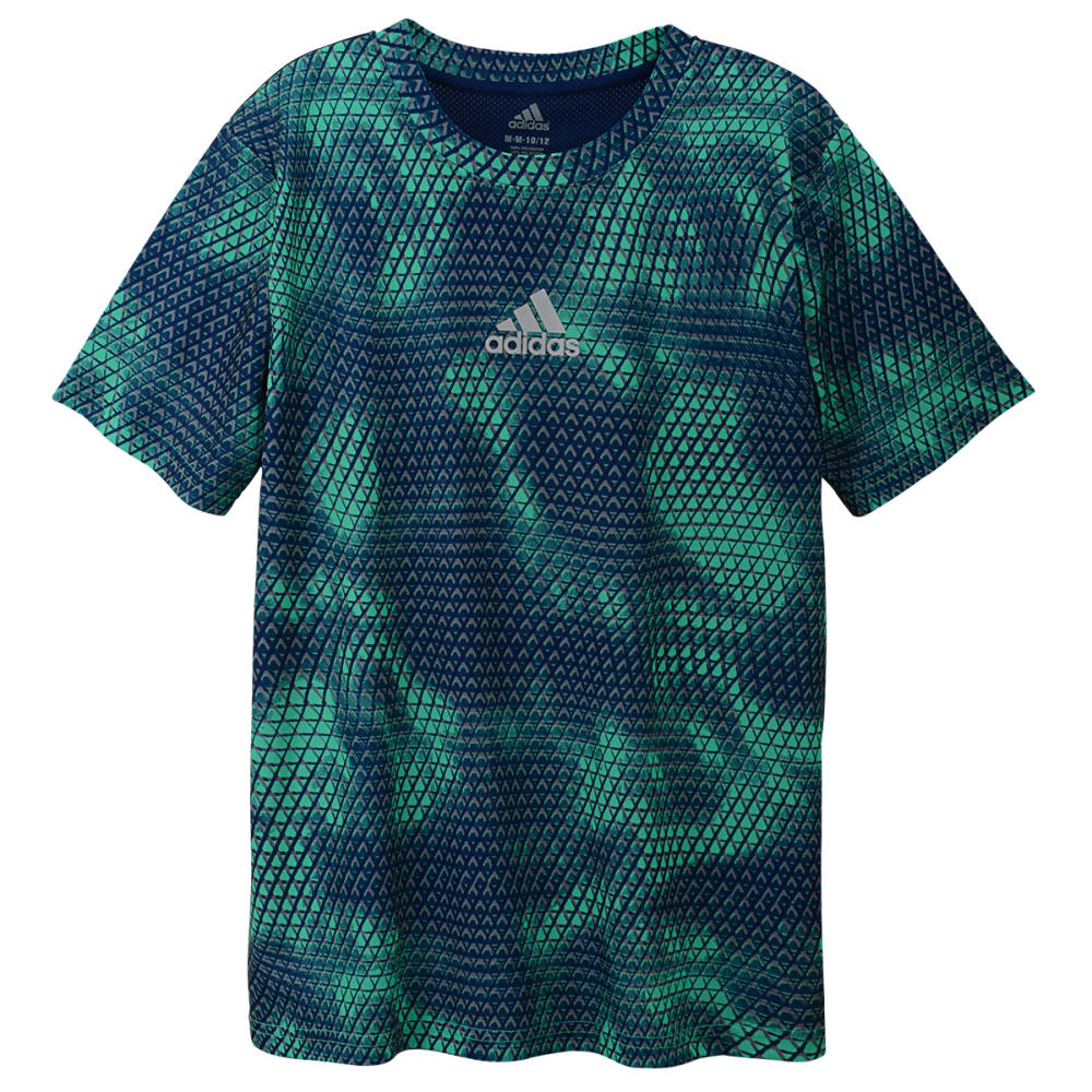 ADIDAS Boys' AOP Tech Snakeskin Short-Sleeve Tee - LT GREEN