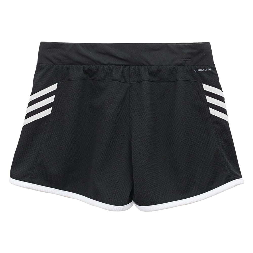 ADIDAS Girls' Ultimate 3-Stripe Knit Shorts - BLACK/WHITE-A82