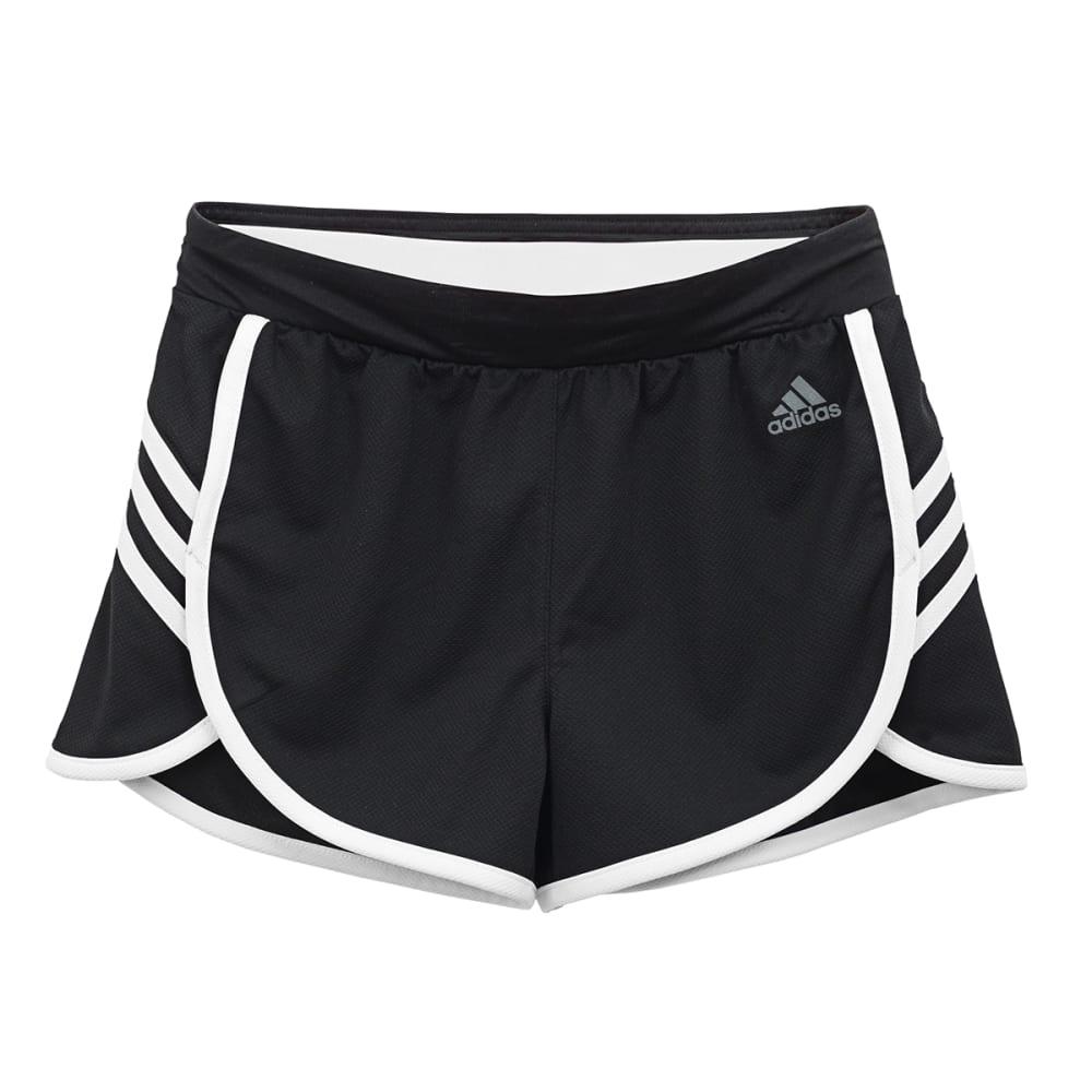 ADIDAS Girls' Ultimate 3-Stripe Knit Shorts - BLACK/WHITE-A82