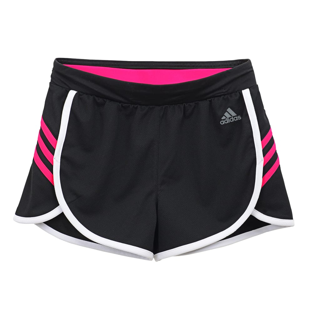 ADIDAS Girls' Ultimate 3 Stripe Knit Short - BLACK/SHOCK PINK-ARV
