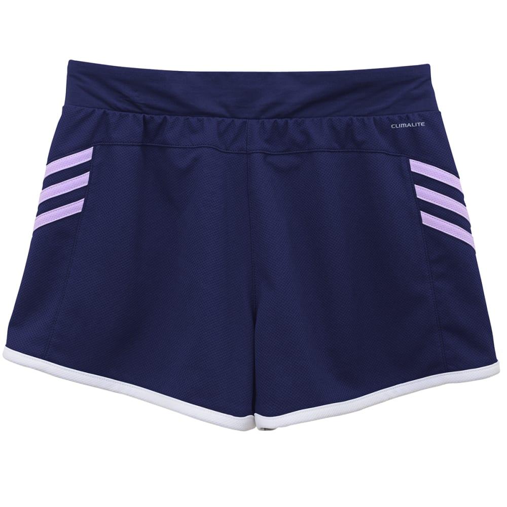 ADIDAS Girls' Ultimate 3-Stripe Knit Shorts - PURPLE